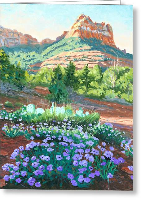 Verbena In Bloom Greeting Card by Steve Simon