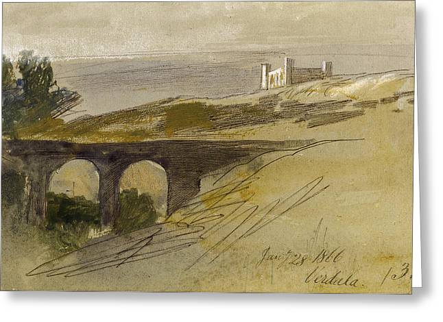 Verdala Malta Greeting Card by Edward Lear