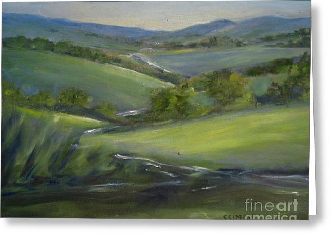 Greeting Card featuring the painting Verdant Hills Of New York by Sally Simon