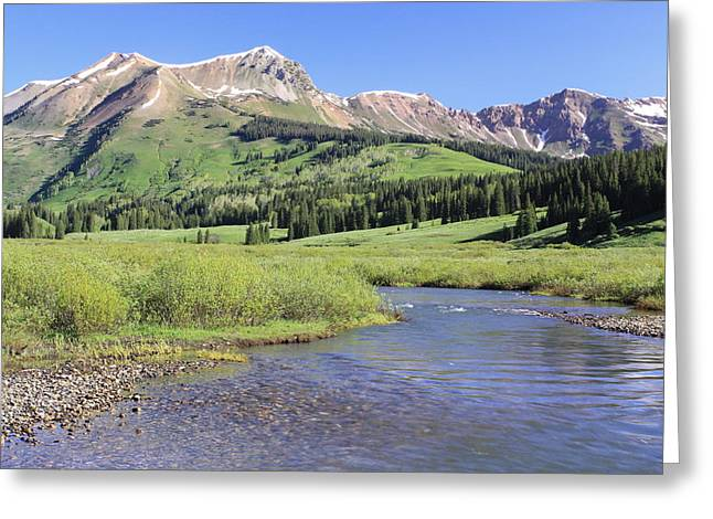 Verdant Valley Greeting Card by Eric Glaser