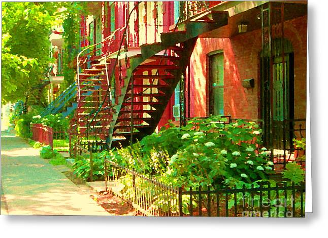 Verdun Stairs Winding Staircases And Fenced Flower Garden Montreal Summer Scene Carole Spandau Greeting Card by Carole Spandau