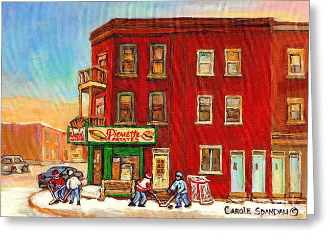 Verdun Winter Scenes-pierrette Patates Deli - Verdun Hockey Art By Carole Spandau Greeting Card