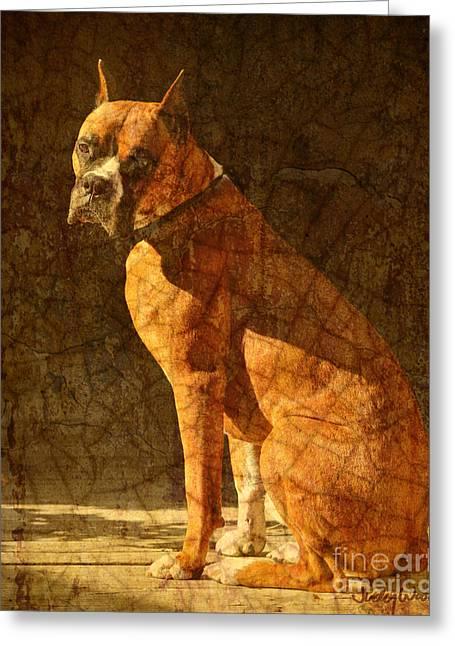 Vermeer's Dog Greeting Card by Judy Wood