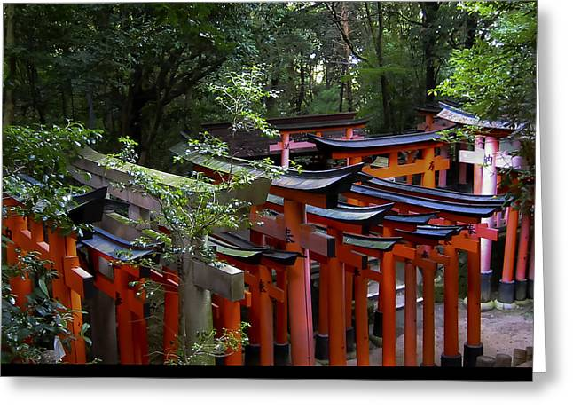 Greeting Card featuring the photograph Vermillion Torii Gates by Debra Crank