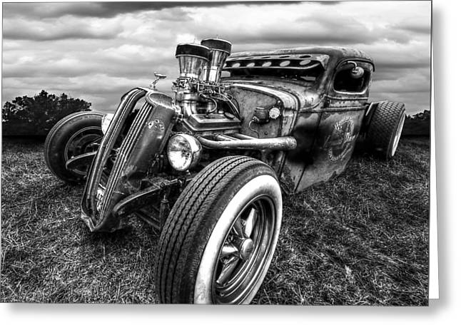Vermin's Diner Rat Rod Front In Black And White Greeting Card by Gill Billington