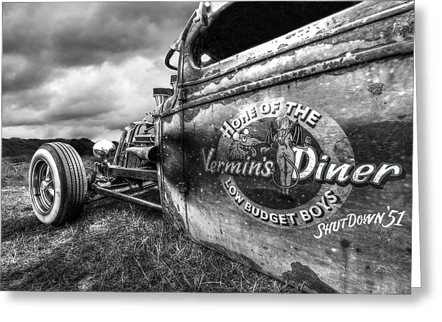 Vermin's Diner Rat Rod In Black And White Greeting Card by Gill Billington