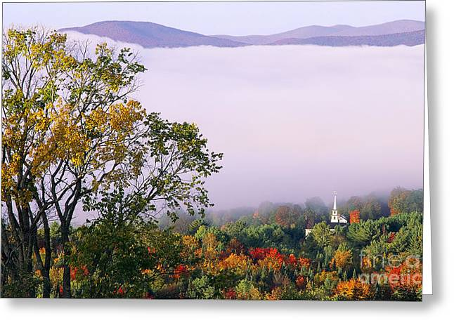 Greeting Card featuring the photograph Vermont Autumn Morning by Alan L Graham