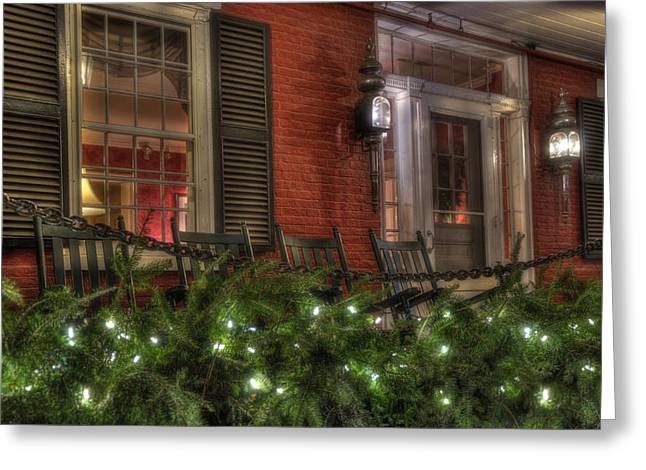 Vermont Inn Front Porch In Winter Greeting Card by Joann Vitali