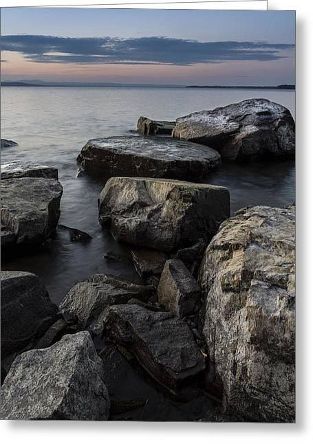 Vermont Lake Champlain Sunset Cloudscape Rocks Greeting Card