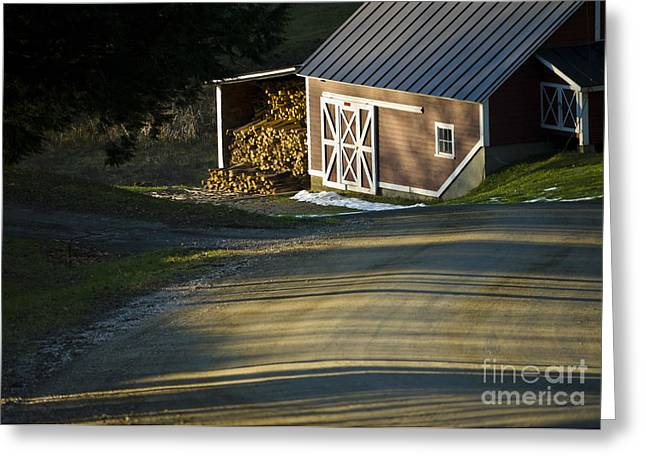Vermont Maple Sugar Shack Sunset Greeting Card by Edward Fielding