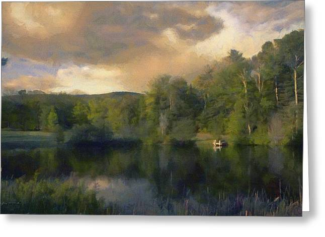 Greeting Card featuring the painting Vermont Morning Reflection by Jeff Kolker