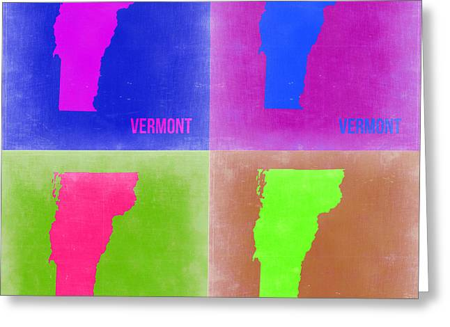 Vermont Pop Art Map 2 Greeting Card