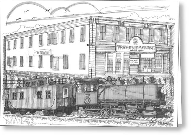 Vermont Salvage And Train Greeting Card by Richard Wambach