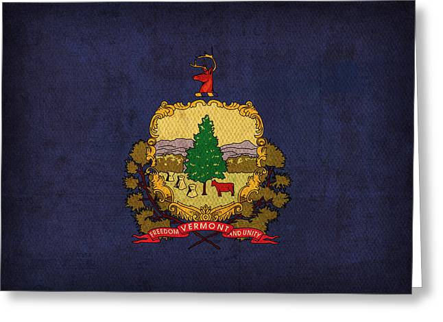 Vermont State Flag Art On Worn Canvas Greeting Card