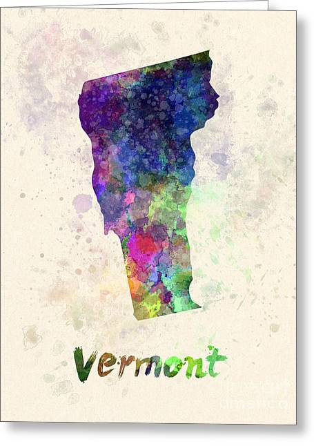 Vermont Us State In Watercolor Greeting Card by Pablo Romero