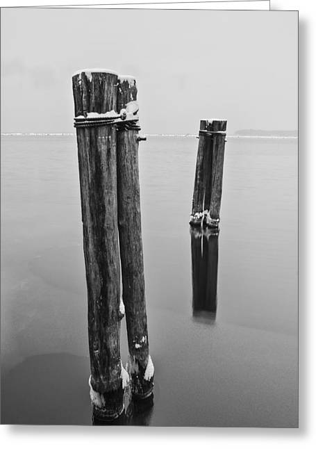 Vermont Winter Lake Champlain Storm Black And White Greeting Card by Andy Gimino