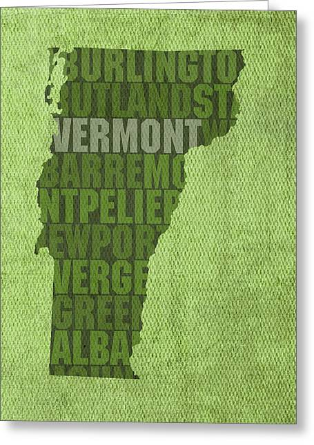 Vermont Word Art State Map On Canvas Greeting Card