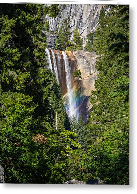 Vernal Falls Rainbow Greeting Card by Mike Lee