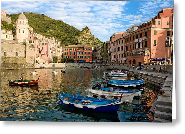 Greeting Card featuring the photograph Vernazza Boatman - Cinque Terre Italy by Carl Amoth