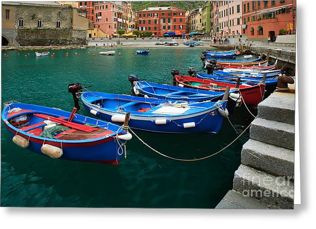 Vernazza Boats Greeting Card by Inge Johnsson