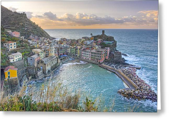 Vernazza Italy Sunrise 1 - Cinque Terre Pictures Greeting Card by Rob Greebon
