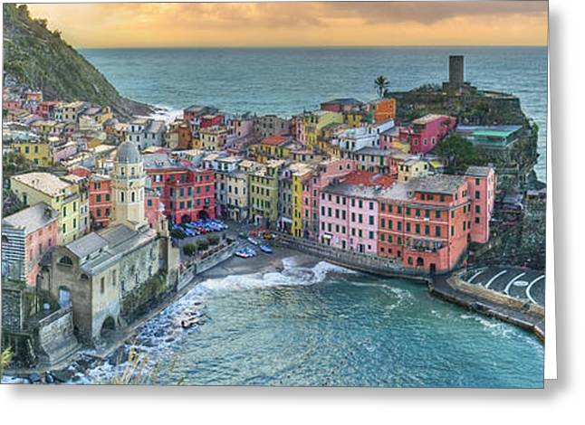 Vernazza Panorama - The Cinque Terre Greeting Card by Rob Greebon
