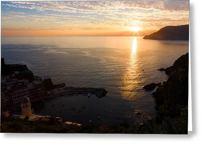 Greeting Card featuring the photograph Vernazza Sunset - I by Carl Amoth