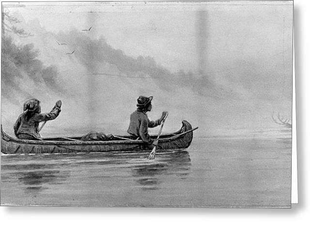 Verner Canoe On River Greeting Card by Granger
