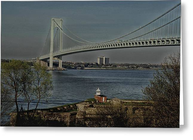 Verrazano Bridge And Fort Wadsworth Greeting Card