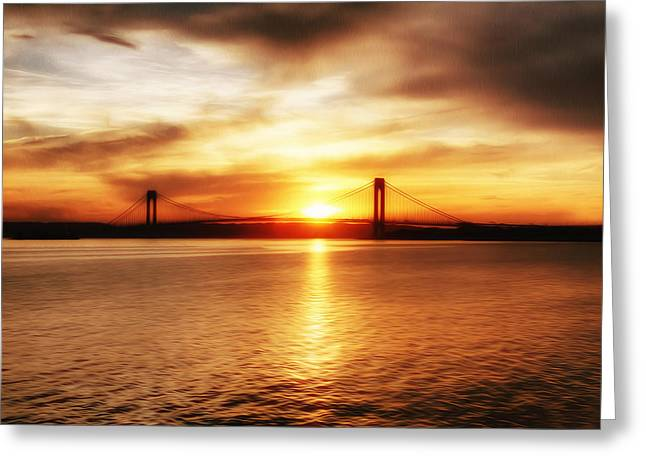 Verrazano Bridge At Sunset Greeting Card