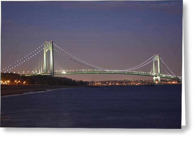Verrazano Narrows Bridge At Night Greeting Card by Kenneth Cole