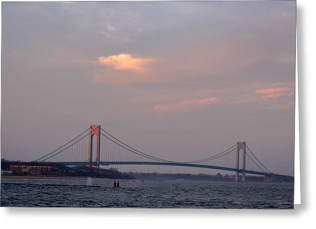 Verrazano Narrows Bridge At Sunset Greeting Card