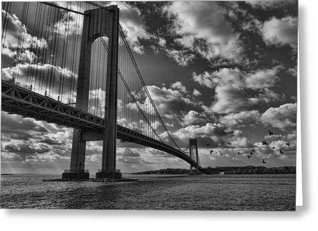 Verrazano Narrows Bridge In Bw Greeting Card by Terry Cork