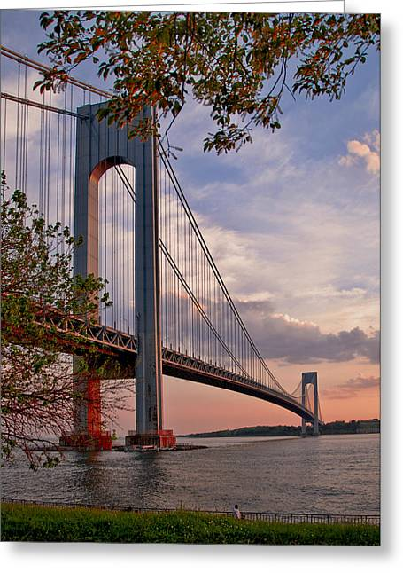 Verrazano Narrows Bridge Greeting Card by Jean-Pierre Ducondi