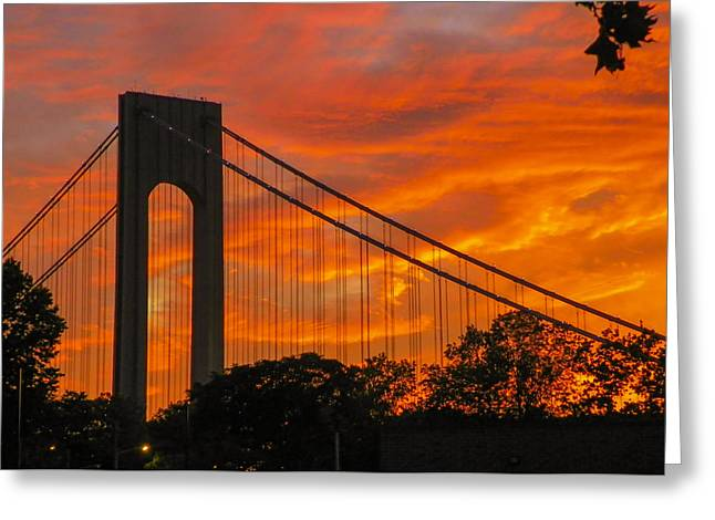 Verrazano Sunset Greeting Card by Jon Woodhams
