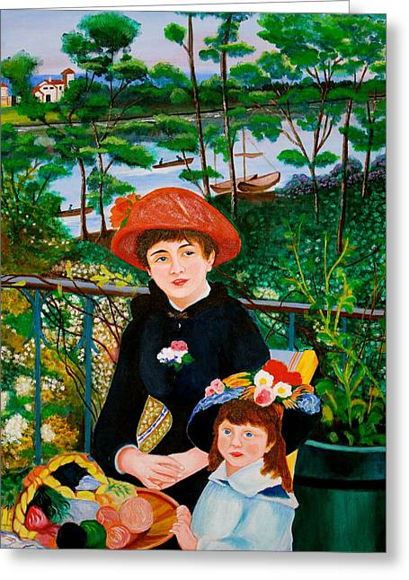 Greeting Card featuring the painting Version Of Renoir's Two Sisters On The Terrace by Cyril Maza