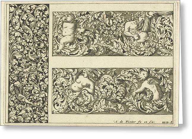 Vertical Panel And Two Friezes, Anthonie De Winter Greeting Card by Anthonie De Winter