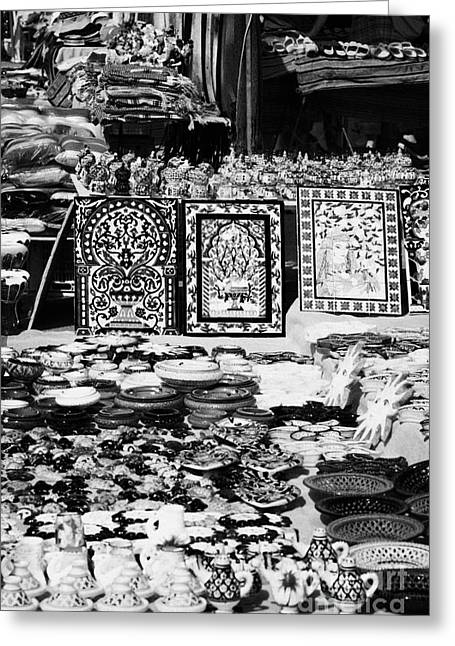 Vertical Rows Of Local Speciality Ceramics For Sale To Tourists On A Stall In The Souk Market In Nabeul Tunisia Greeting Card