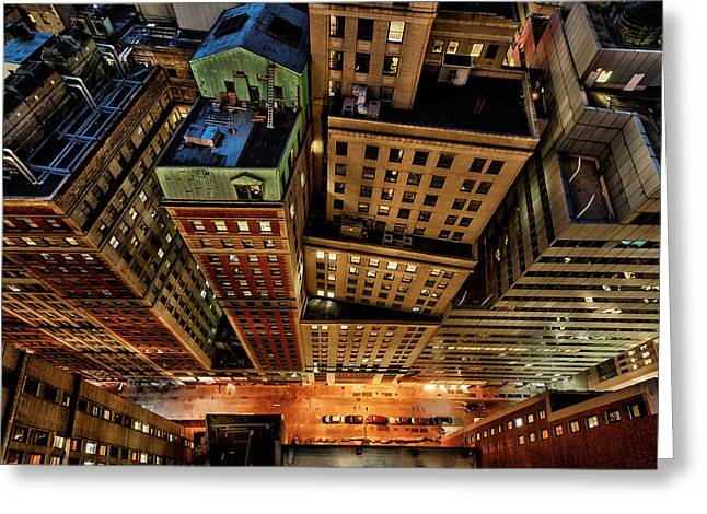 Vertigo In Manhattan Greeting Card by David Giral