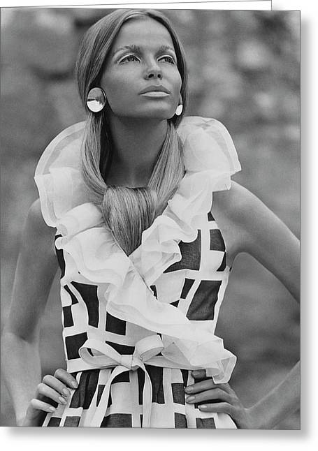 Veruschka Von Lehndorff Wearing A Fisher & Greeting Card by Franco Rubartelli