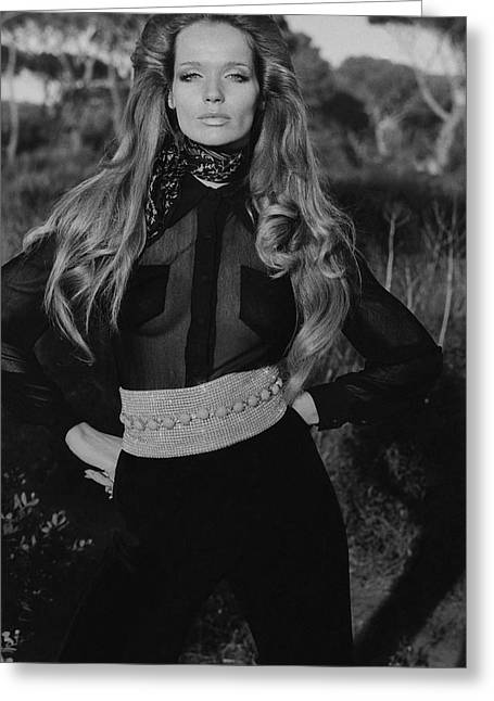 Veruschka Von Lehndorff Wearing A Wearing A Vogue Greeting Card by Franco Rubartelli