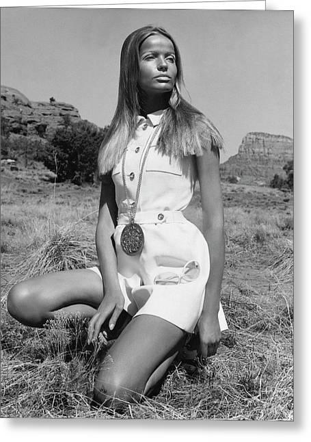 Veruschka Von Lehndorff Wearing Ginala Culottes Greeting Card by Franco Rubartelli