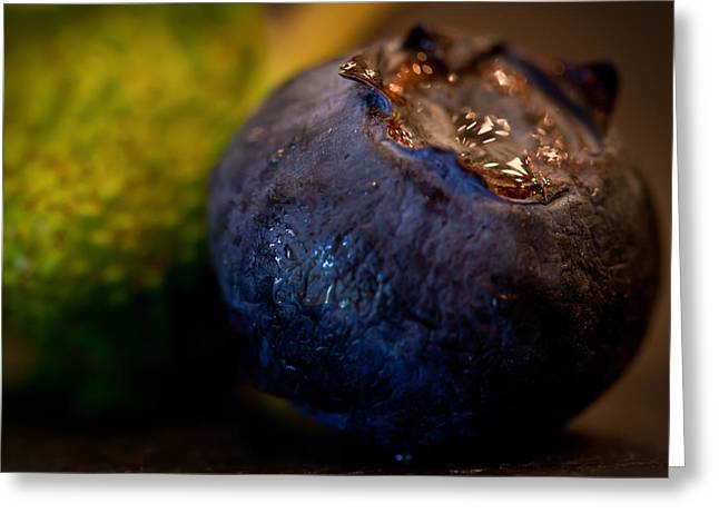 Very Blueberry Square Greeting Card by Patricia Bainter