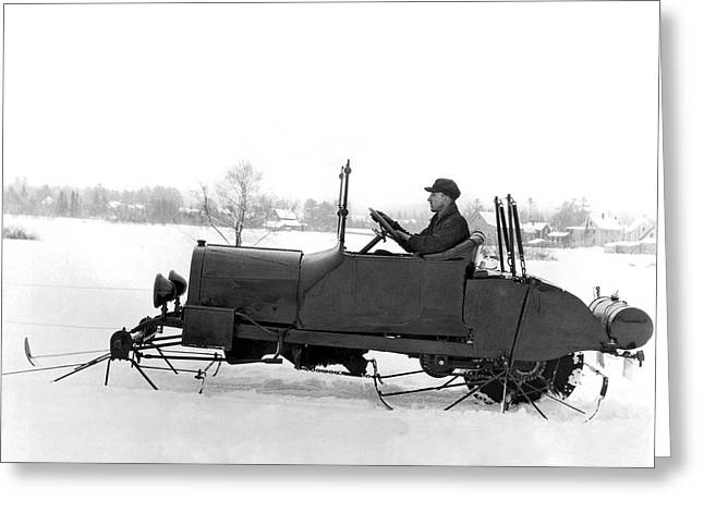 Very Early Snowmobile Greeting Card by Underwood Archives