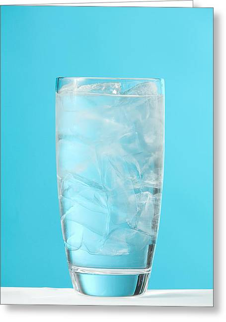 Very Full Glass Of Water With Ice Greeting Card by Greg Huszar Photography