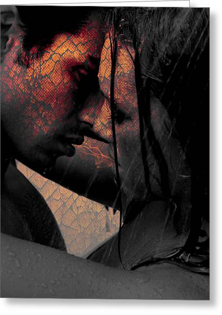Very Hot Lovers Greeting Card by Teri Schuster