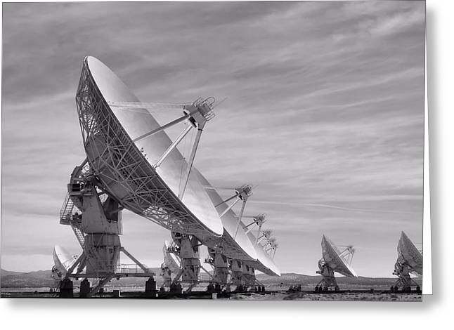 Very Large Array Black And White Greeting Card by Dan Sproul