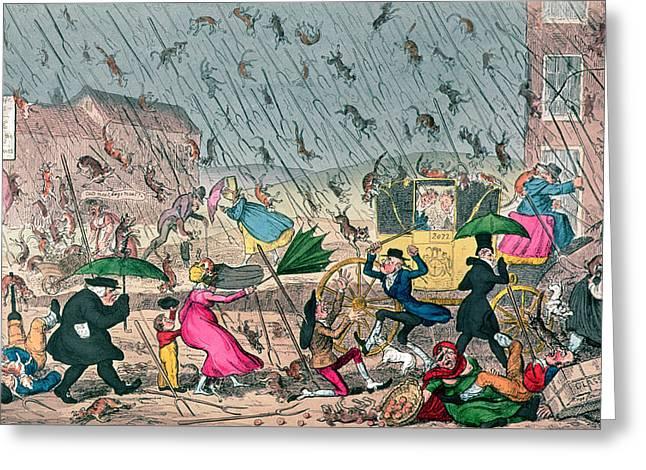 Very Unpleasant Weather Greeting Card by George Cruikshank