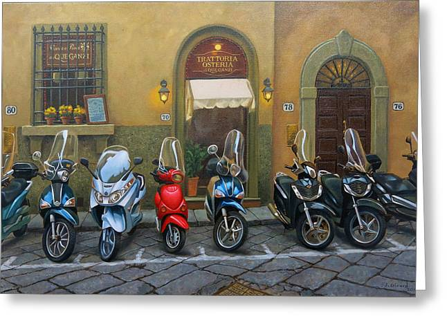 Vespas At The Trattoria Florence Italy Greeting Card