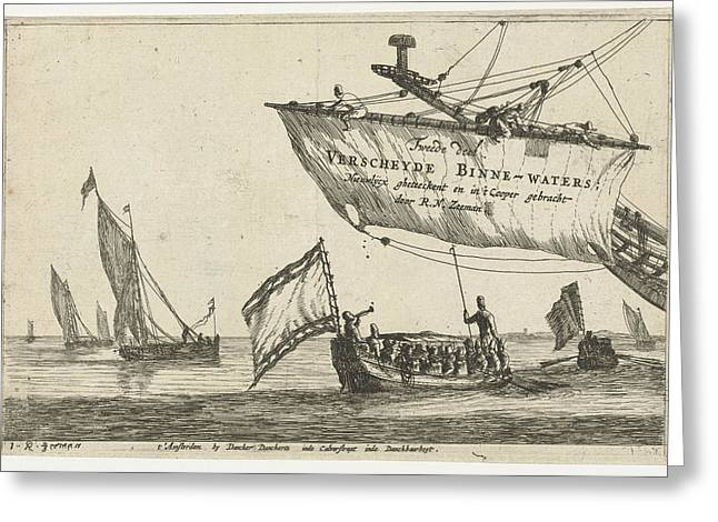 Vessel And Sailing Ships On Calm Water, Print Maker Reinier Greeting Card